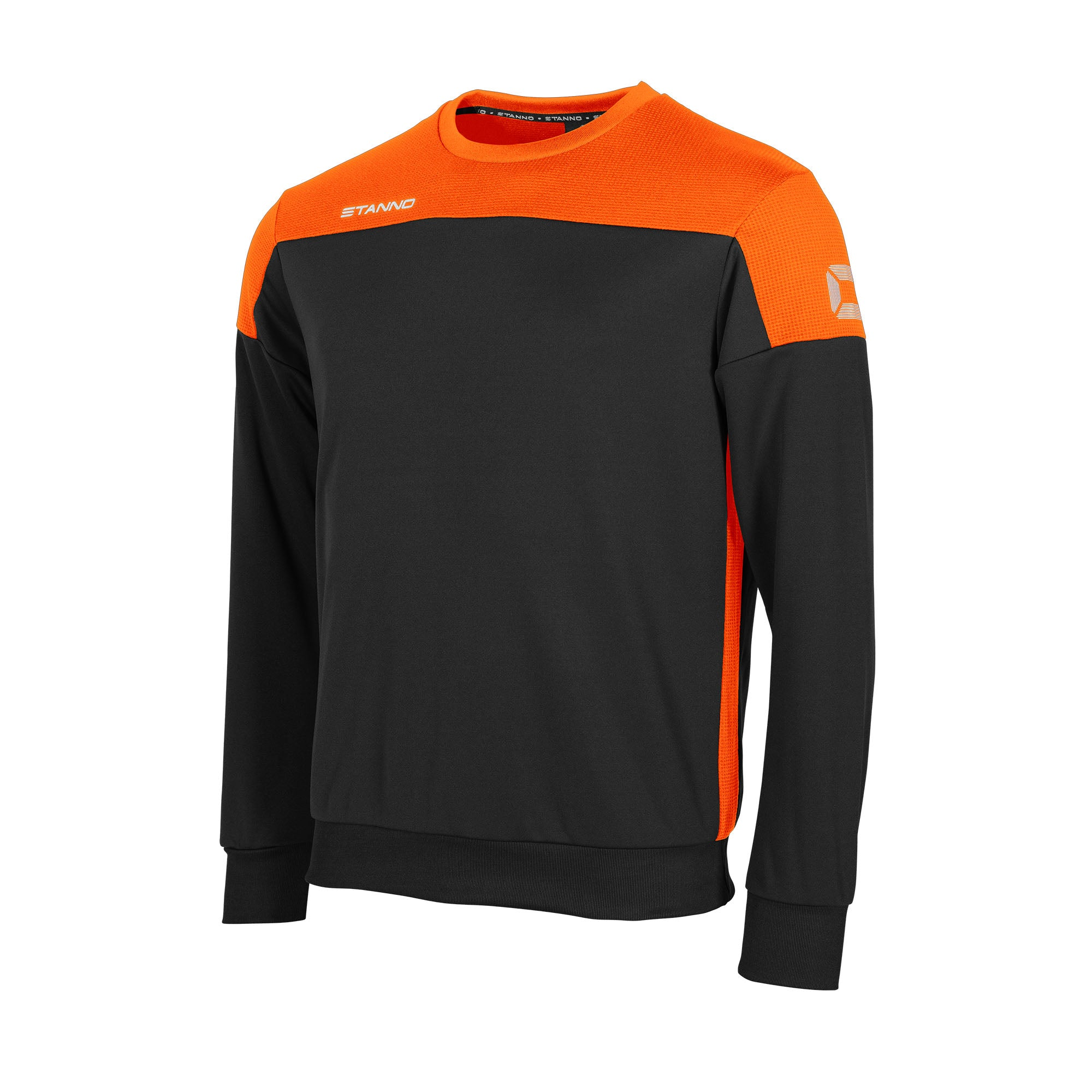 Stanno Pride round neck sweatshirt in black, with mesh contrast orange shoulder and side panel