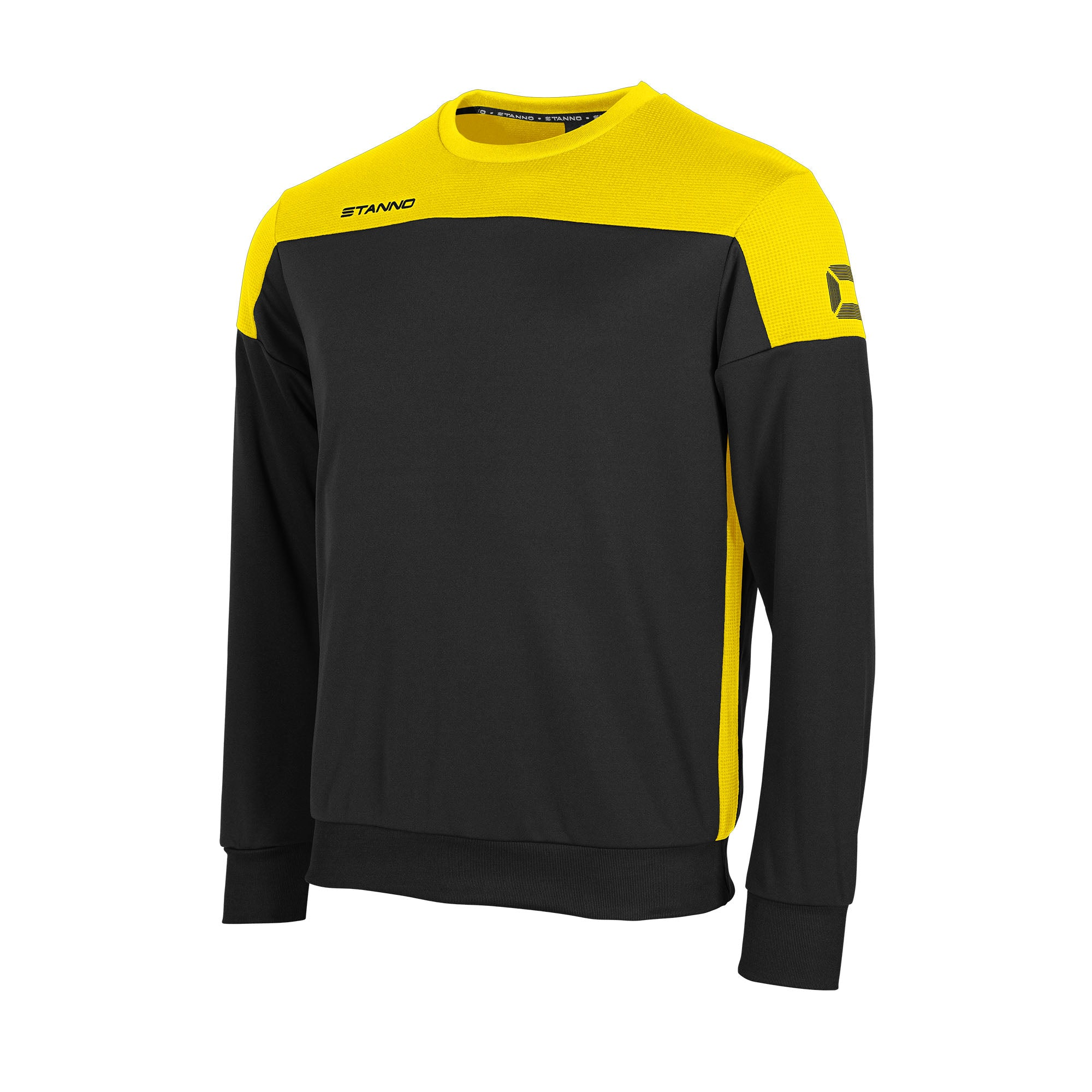 Stanno Pride round neck sweatshirt in black, with mesh contrast yellow shoulder and side panel