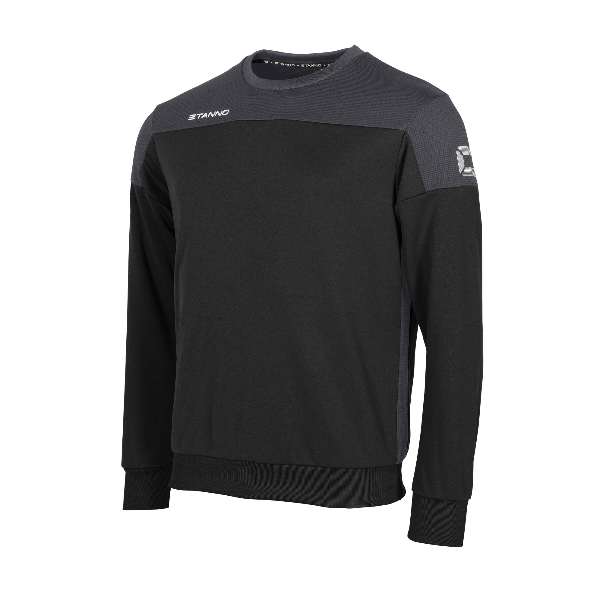 Stanno Pride round neck sweatshirt in black, with mesh contrast anthracite shoulder and side panel