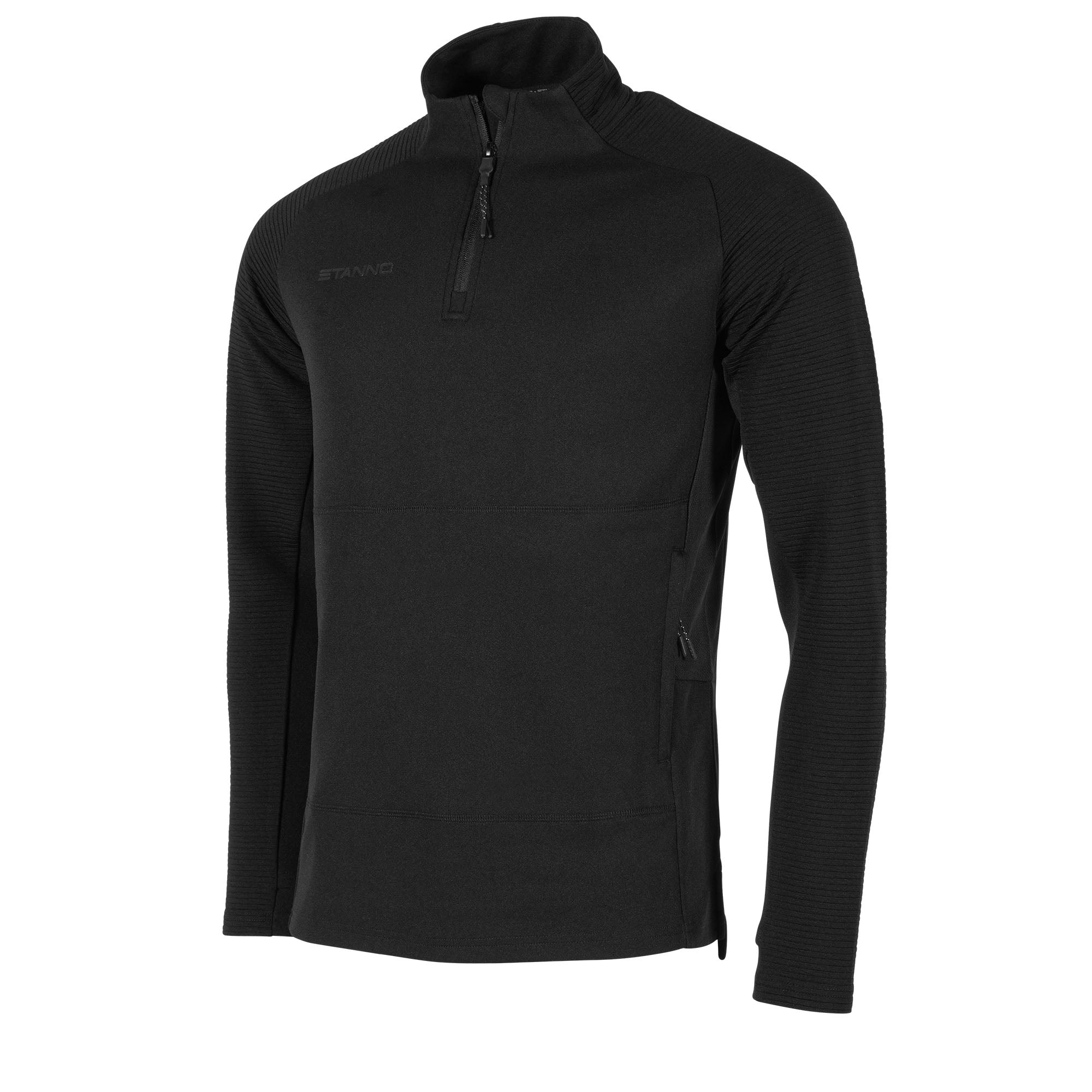 Front view of black Stanno Functionals 1/4 zip top with black ribbed sleeves. Subtle Stanno text logo on right chest.