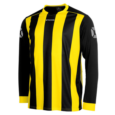 Front of Stanno Brighton long sleeved shirt in black and yellow vertical stripes, central printed Stanno text logo on the chest