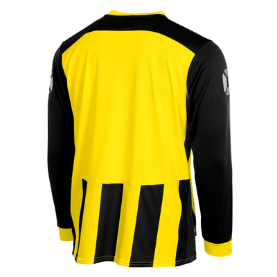 Rear of Stanno Brighton long sleeved shirt in black and yellow vertical stripes. Plain back panel in yellow for number priting.