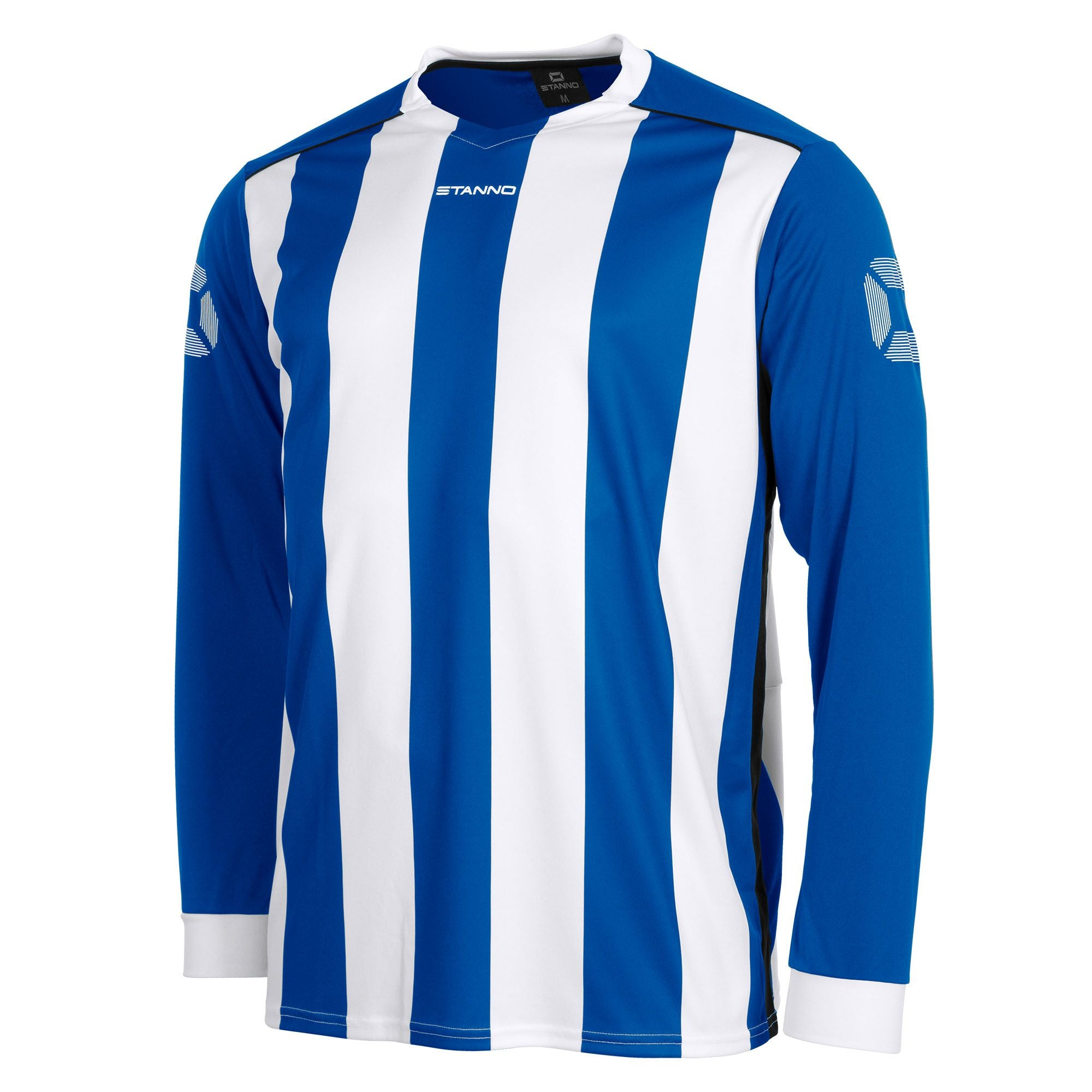 Front of Stanno Brighton long sleeved shirt in royal blue and white vertical stripes, central printed Stanno text logo on the chest