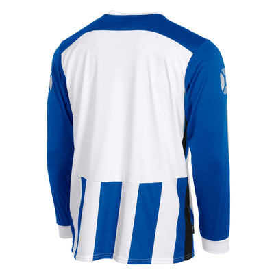 Rear of Stanno Brighton long sleeved shirt in royal blue and white vertical stripes. Plain back panel in white for number priting.