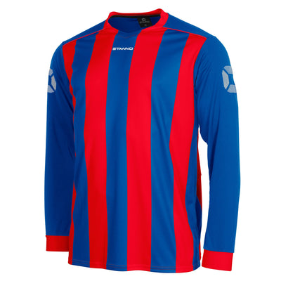 Front of Stanno Brighton long sleeved shirt in royal blue and red vertical stripes, central printed Stanno text logo on the chest