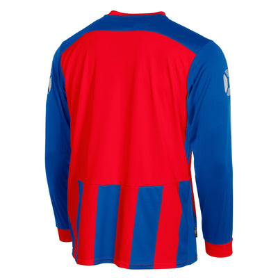 Rear of Stanno Brighton long sleeved shirt in royal blue and red vertical stripes. Back section in solid red for number priting.