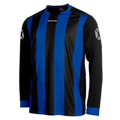 Front of Stanno Brighton long sleeved shirt in royal blue and black vertical stripes, central printed Stanno text logo on the chest