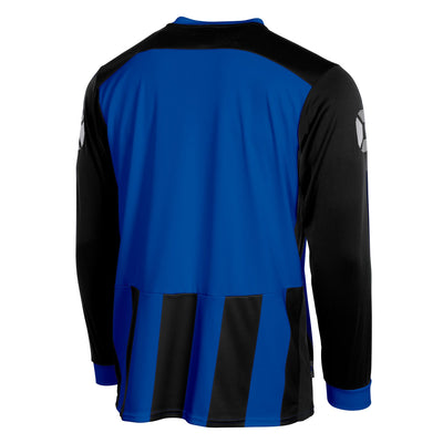 Rear of Stanno Brighton long sleeved shirt in royal blue and black vertical stripes. Plain back panel in royal blue for number priting.