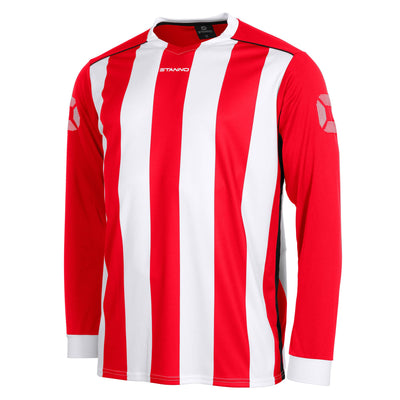 Front of Stanno Brighton long sleeved shirt in red and white vertical stripes, central printed Stanno text logo on the chest