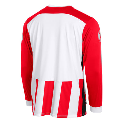 Rear of Stanno Brighton long sleeved shirt in red and white vertical stripes. Plain back panel in white for number priting.