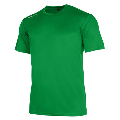 Front of Stanno field short sleeve shirt in green with white Stanno logo on right shoulder