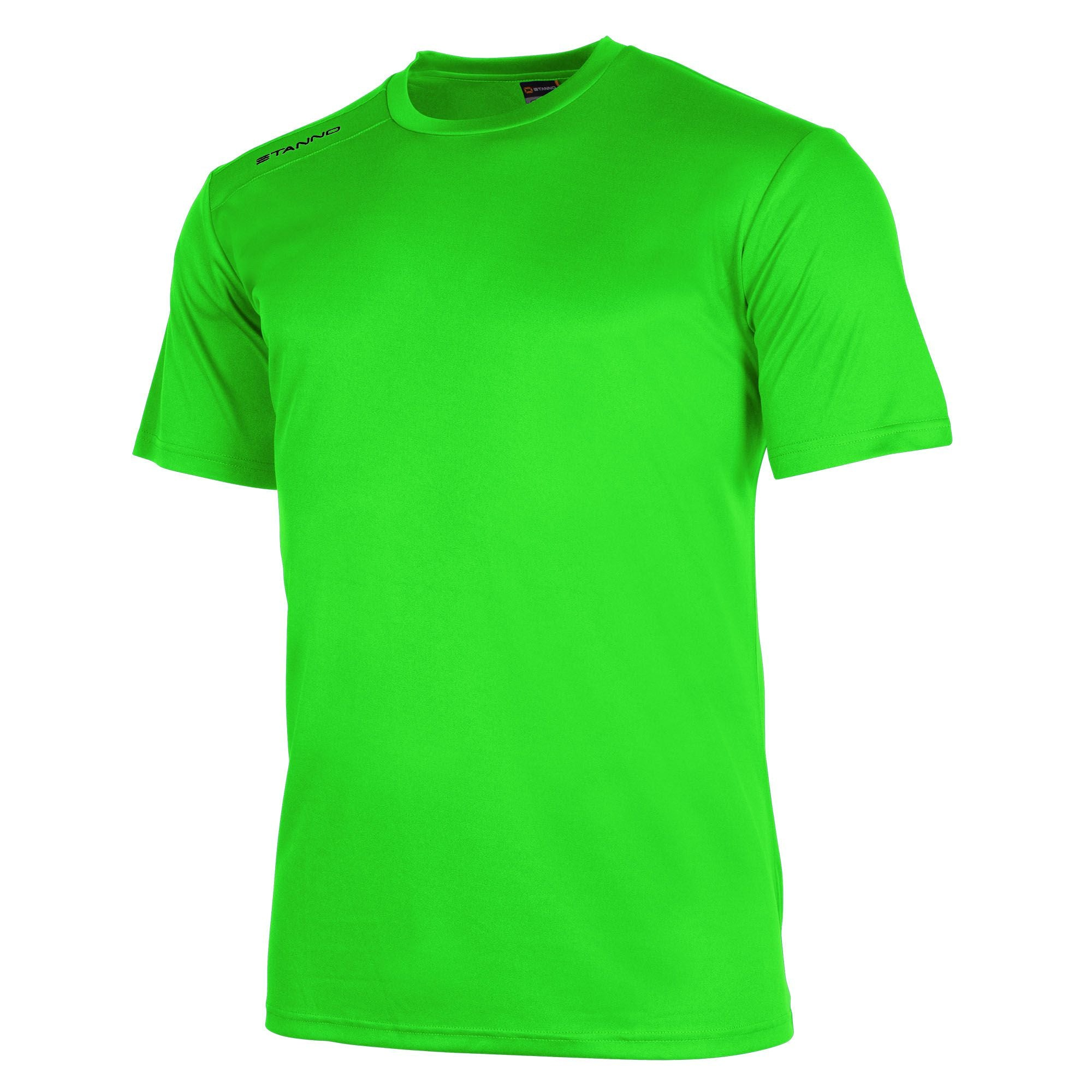 Front of Stanno field short sleeve shirt in neon green with black Stanno logo on right shoulder