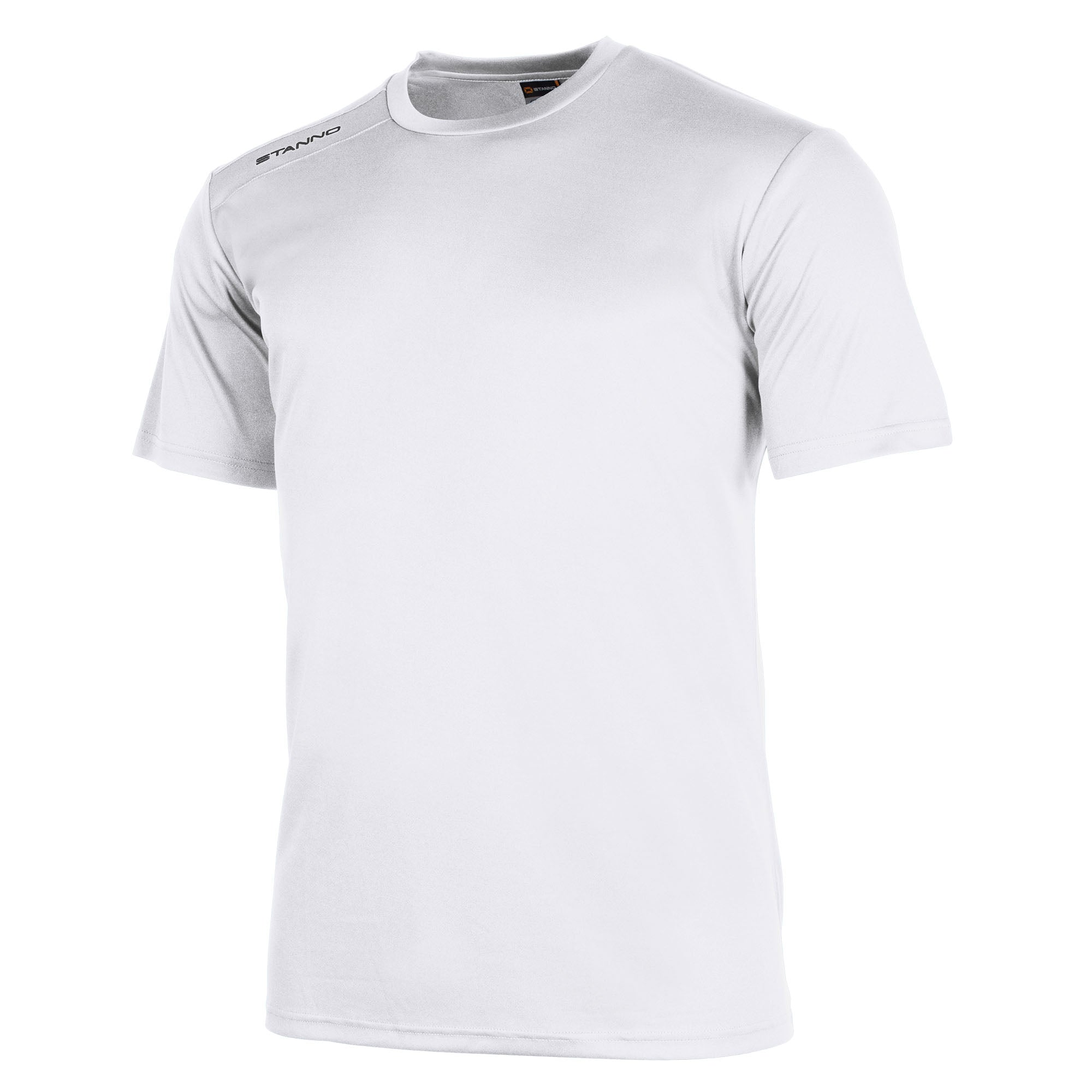 Front of Stanno field short sleeve shirt in white with black Stanno logo on right shoulder