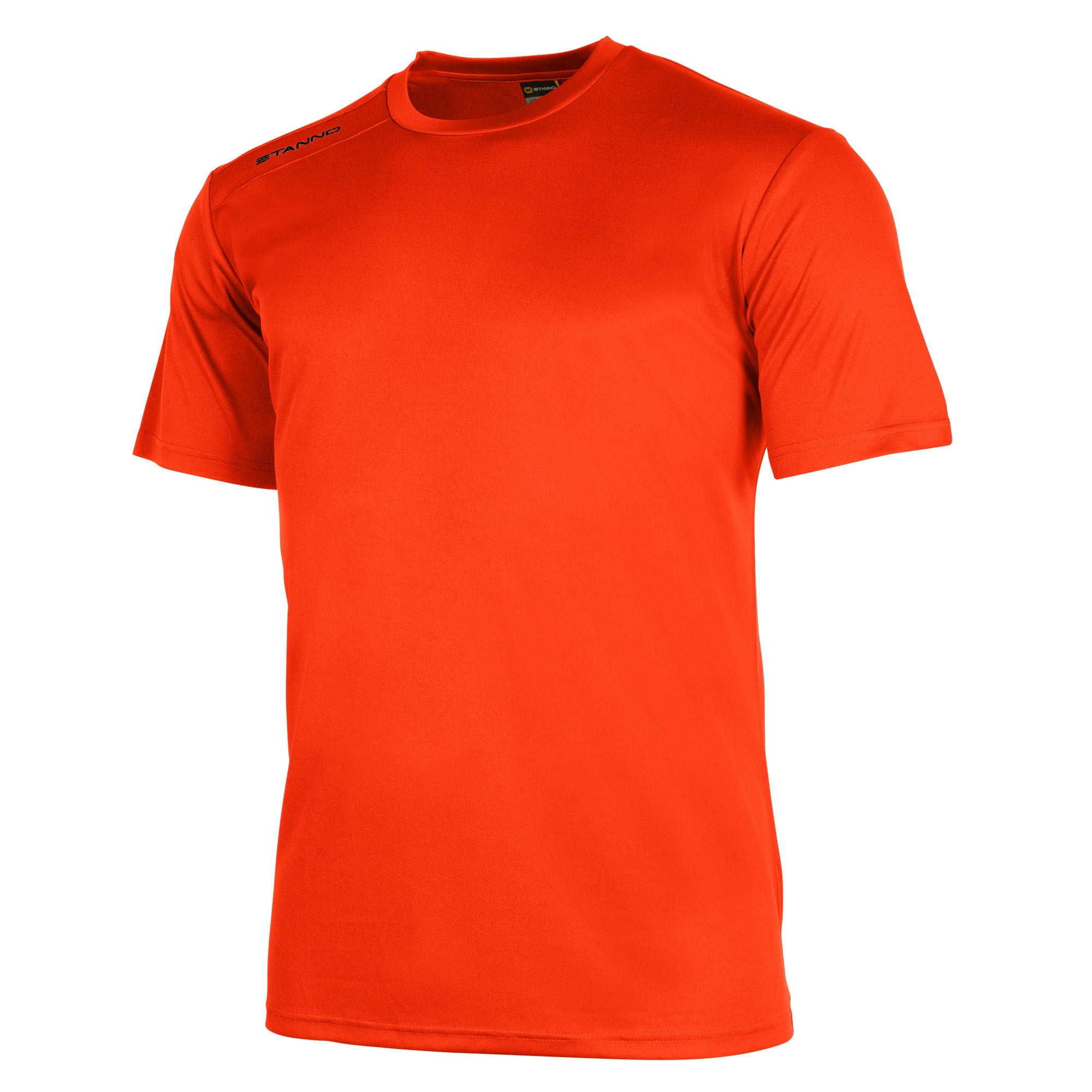 Front of Stanno field short sleeve shirt in shocking orange with black Stanno logo on right shoulder