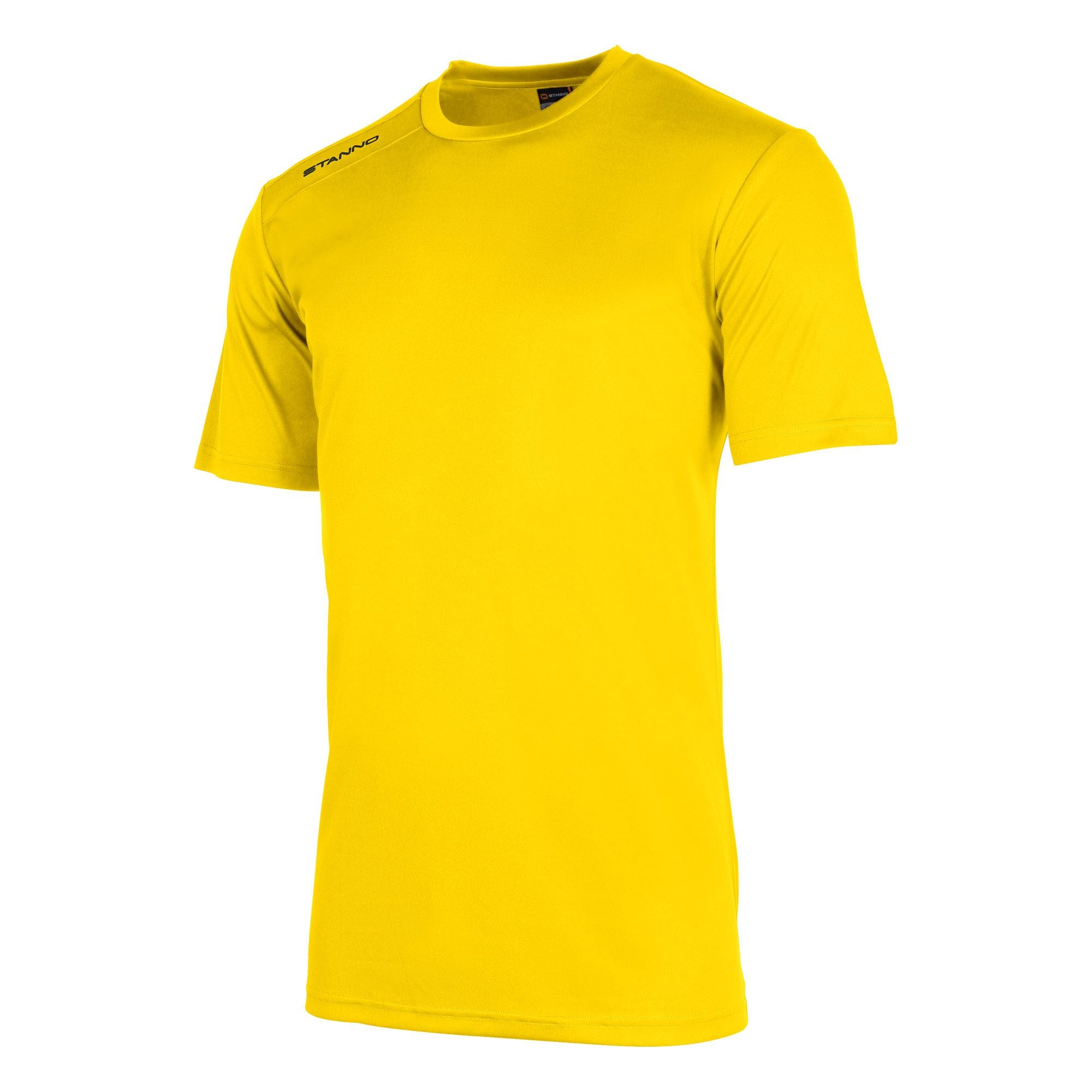 Front of Stanno field short sleeve shirt in yellow with black Stanno logo on right shoulder