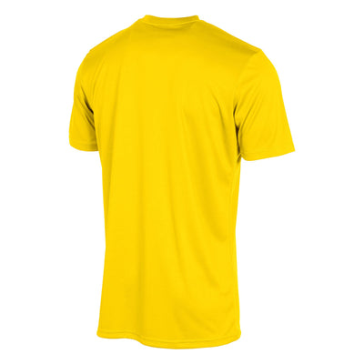 Rear of stanno field short sleeve shirt in yellow