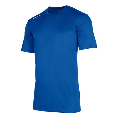 Front of stanno field short sleeve shirt in royal blue with white text logo on right shoulder