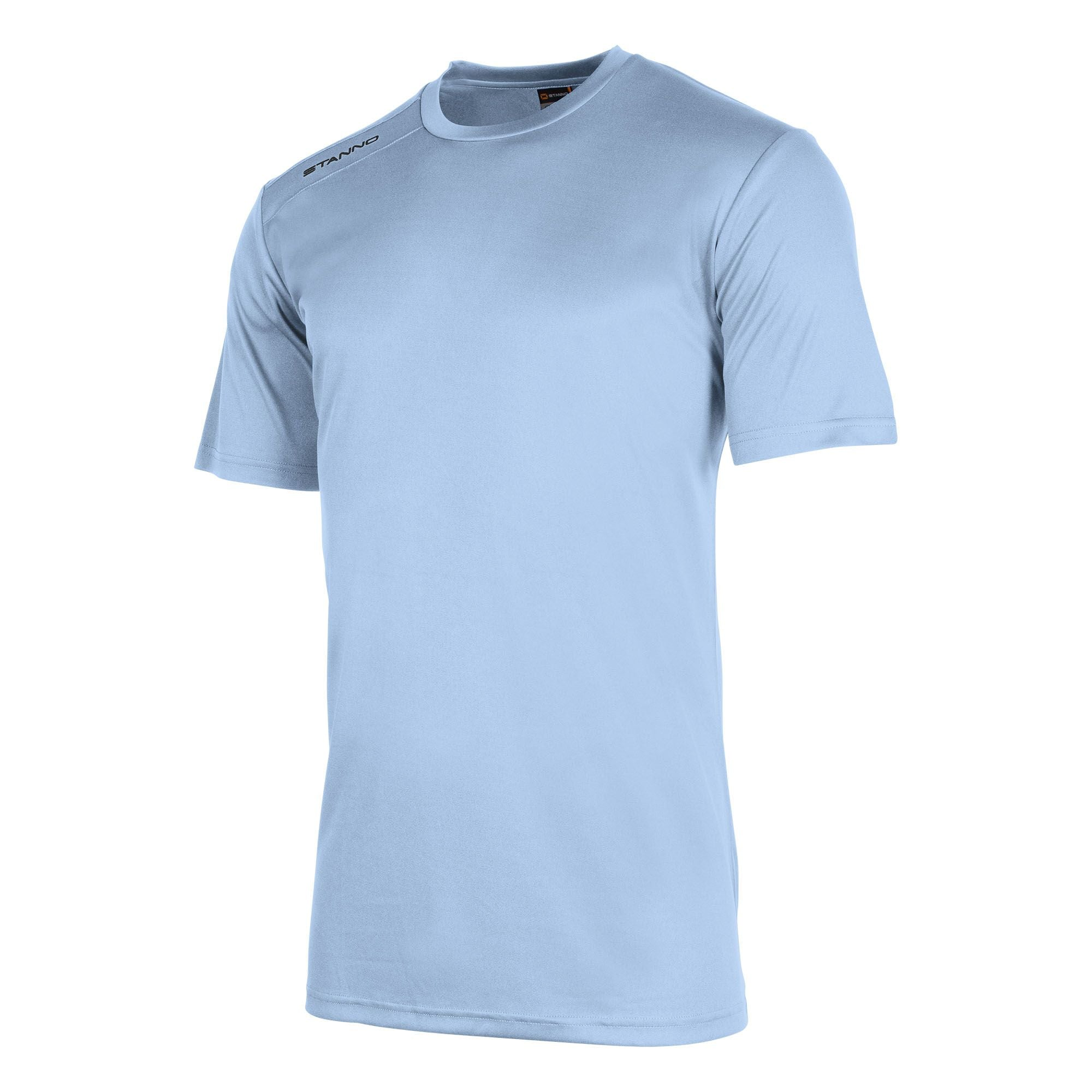 Front of Stanno field short sleeve shirt in shoky blue with black Stanno logo on right shoulder
