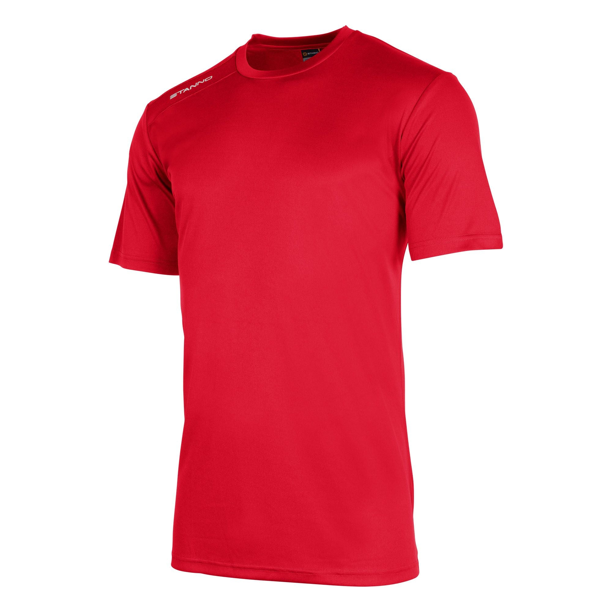 Front of Stanno field short sleeve shirt in red with white Stanno logo on right shoulder