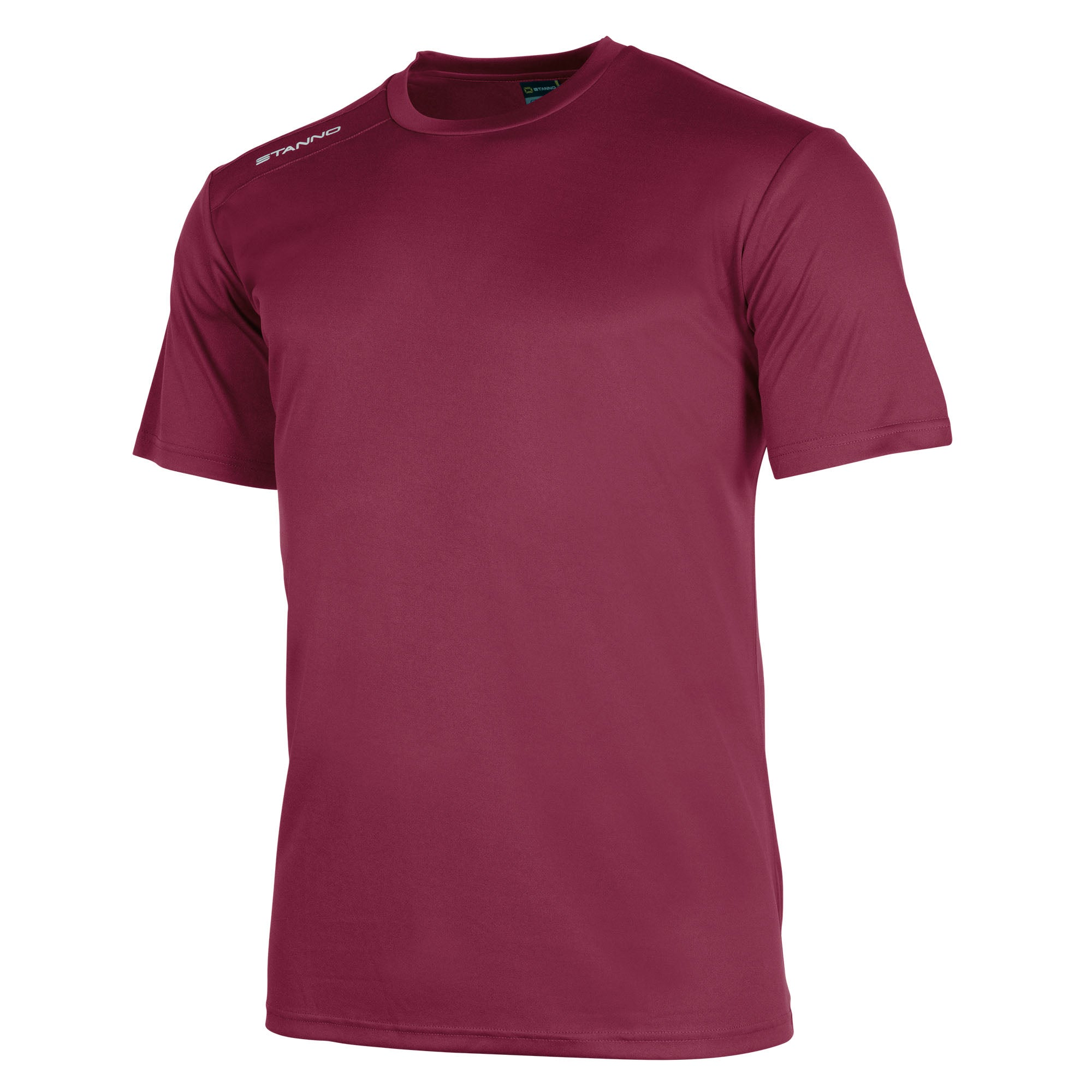 Stanno Field Shirt in maroon short sleeve with white Stanno text logo on right shoulder