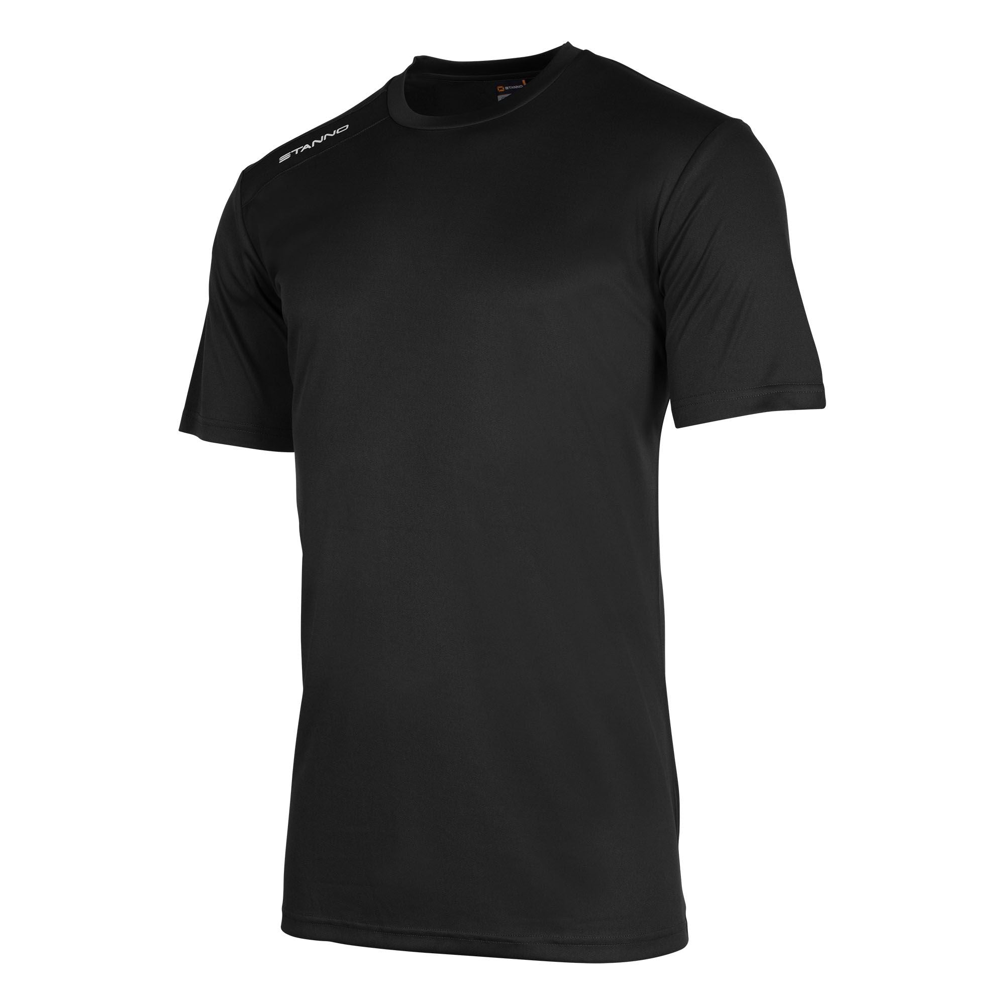 Front of Stanno Field shirt in black short sleeve with white text print on right shoulder
