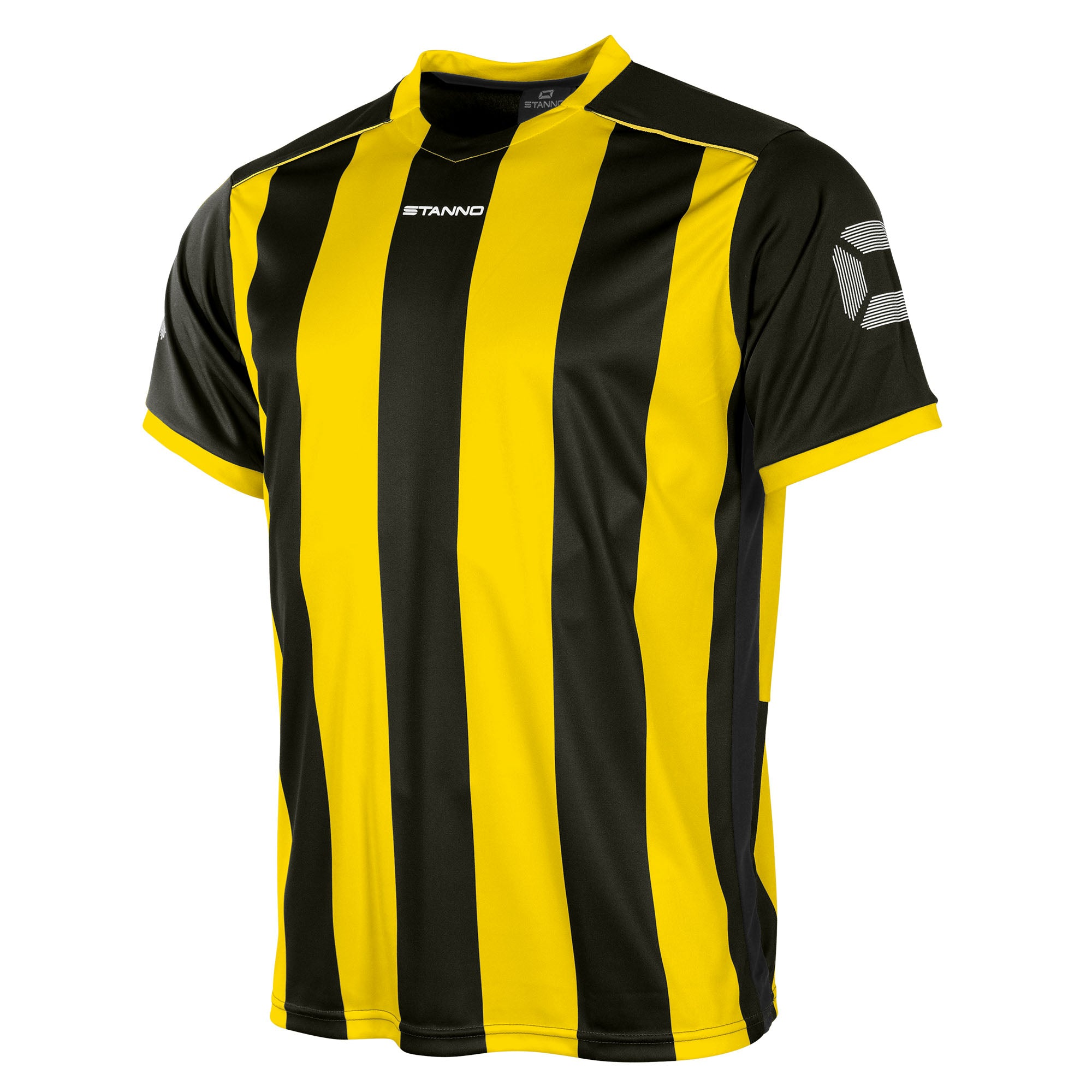 Front of Stanno Brighton short sleeved shirt in black and yellow vertical stripes, central printed Stanno text logo on the chest