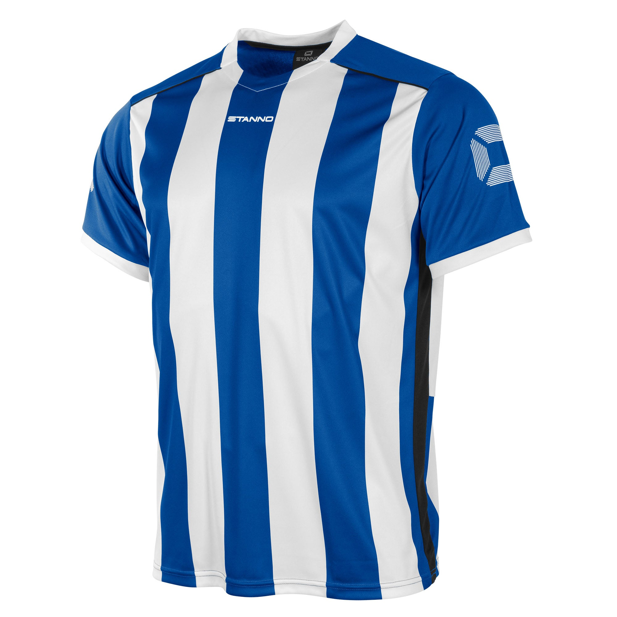 Front of Stanno Brighton short sleeved shirt in royal blue and white vertical stripes, central printed Stanno text logo on the chest