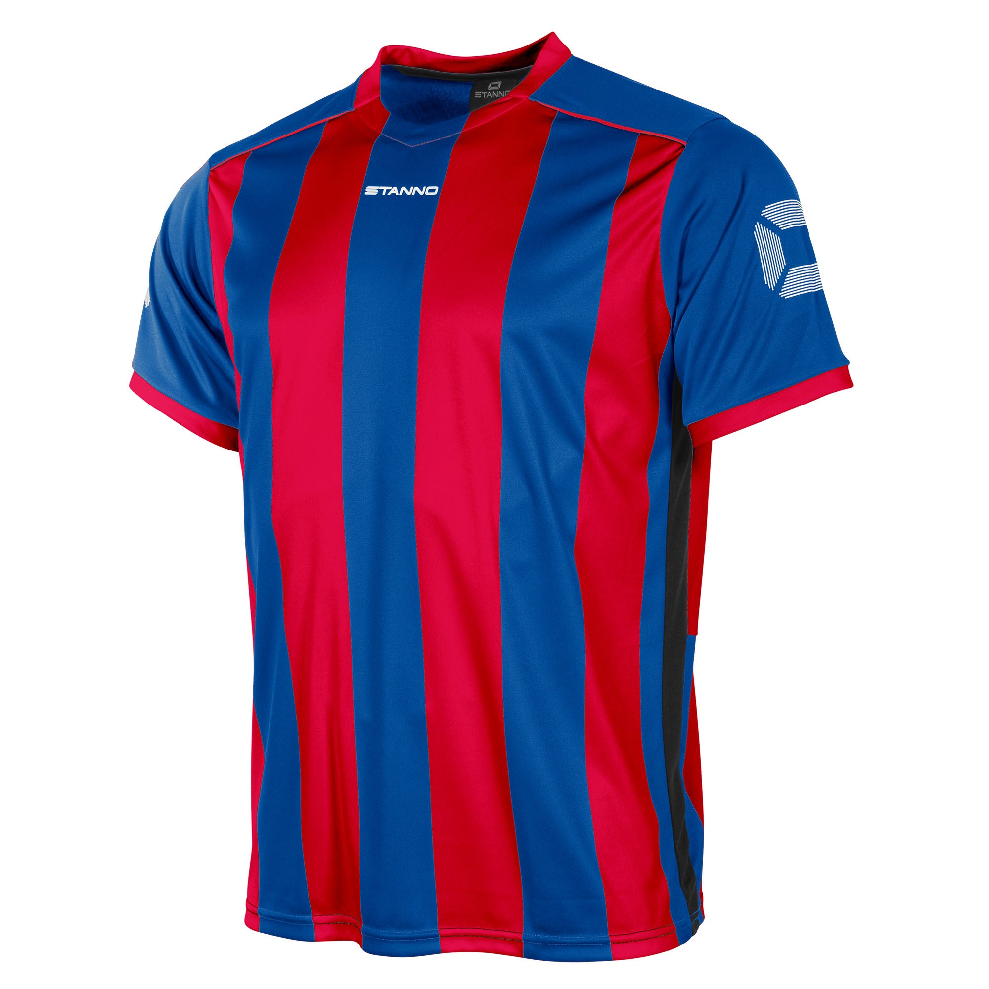 Front of Stanno Brighton short sleeved shirt in royal blue and red vertical stripes, central printed Stanno text logo on the chest