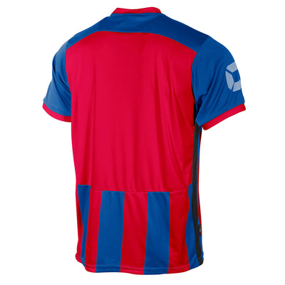 Rear of Stanno Brighton short sleeved shirt in royal blue and red vertical stripes. Back section in solid red for number priting.