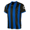 Front of Stanno Brighton short sleeved shirt in royal blue and black vertical stripes, central printed Stanno text logo on the chest