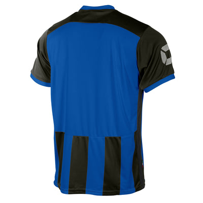 Rear of Stanno Brighton short sleeved shirt in royal blue and black vertical stripes. Plain back panel in royal blue for number priting.
