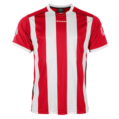 Front of Stanno Brighton short sleeved shirt in red and white vertical stripes, central printed Stanno text logo on the chest