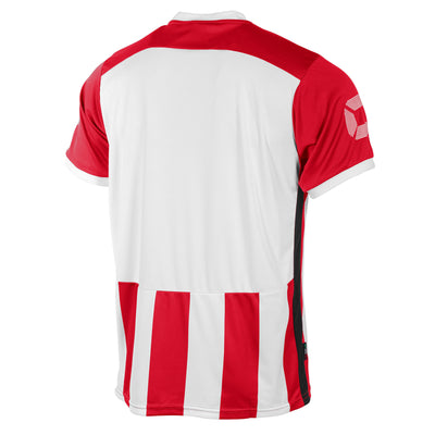 Rear of Stanno Brighton short sleeved shirt in red and white vertical stripes. Plain back panel in white for number priting.