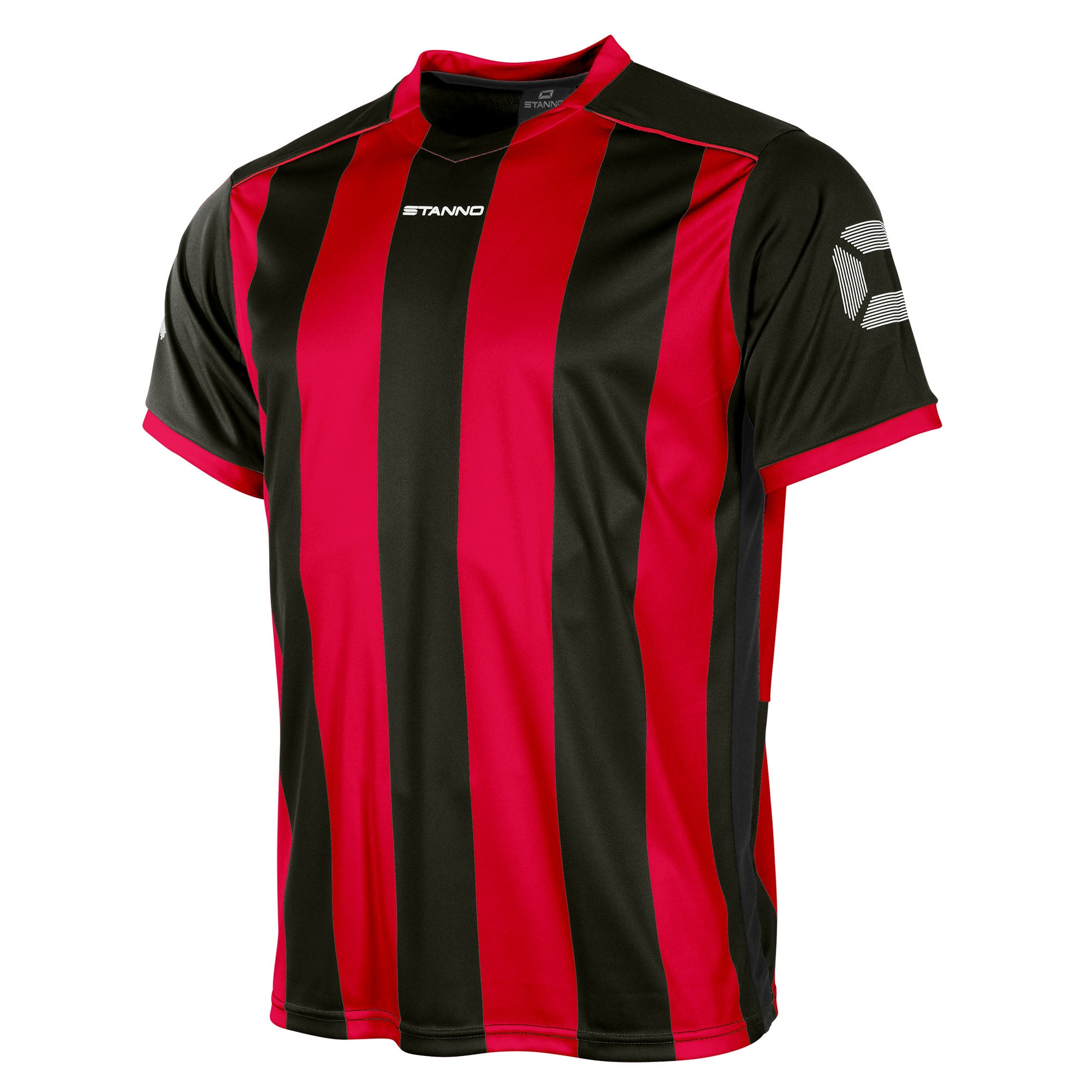 Front of Stanno Brighton short sleeved shirt in red and black vertical stripes, central printed Stanno text logo on the chest