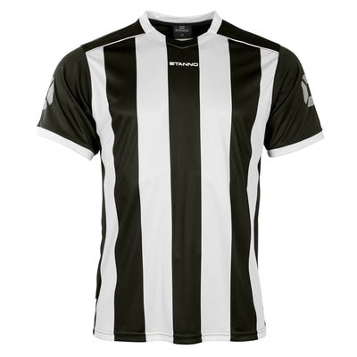 Front of Stanno Brighton short sleeved shirt in black and white vertical stripes, central printed Stanno text logo on the chest