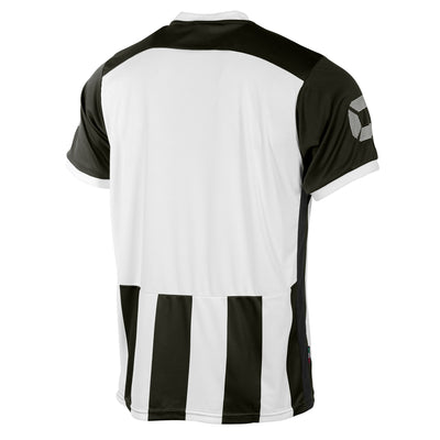 Rear of Stanno Brighton short sleeved shirt in black and white vertical stripes. Plain back panel in white for number priting.