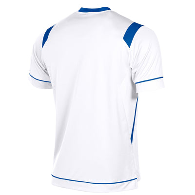 rear of Stanno Arezzo short sleeved shirt in white with royal blue contrast collar, and stripe detail on shoulders and sides.