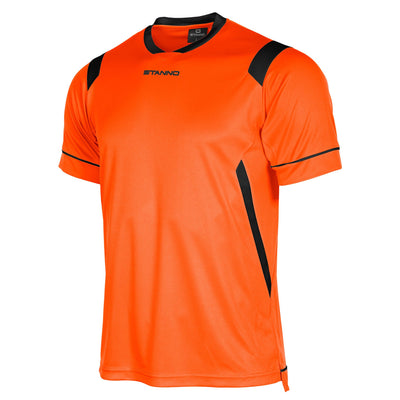 Stanno Arezzo short sleeved shirt in orange with black contrast collar, and stripe detail on shoulders and sides.