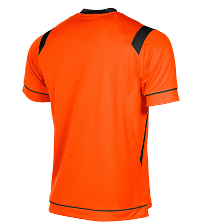 rear of Stanno Arezzo short sleeved shirt in orange with black contrast collar, and stripe detail on shoulders and sides.