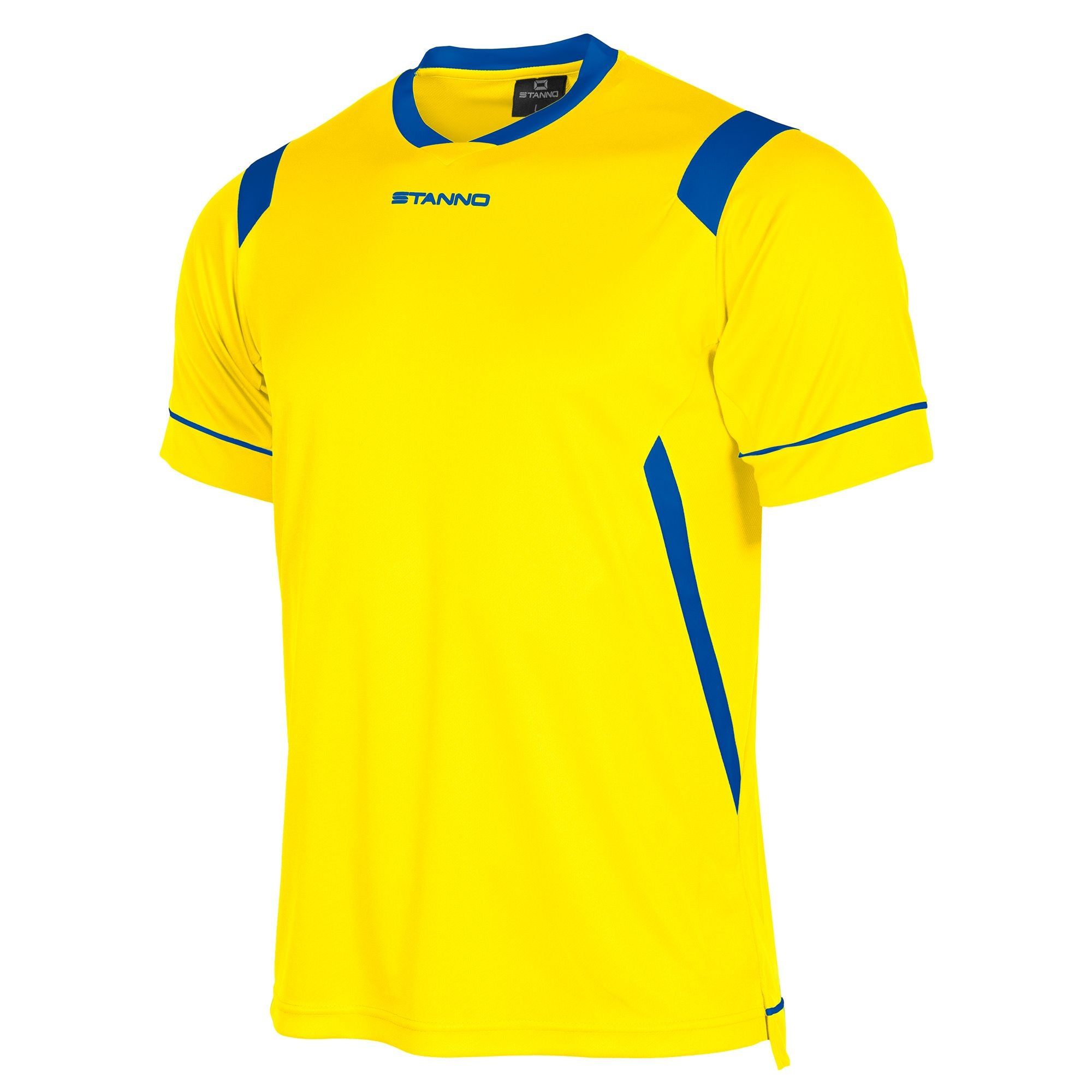 rear of Stanno Arezzo short sleeved shirt in yellow with royal blue contrast collar, and stripe detail on shoulders and sides.