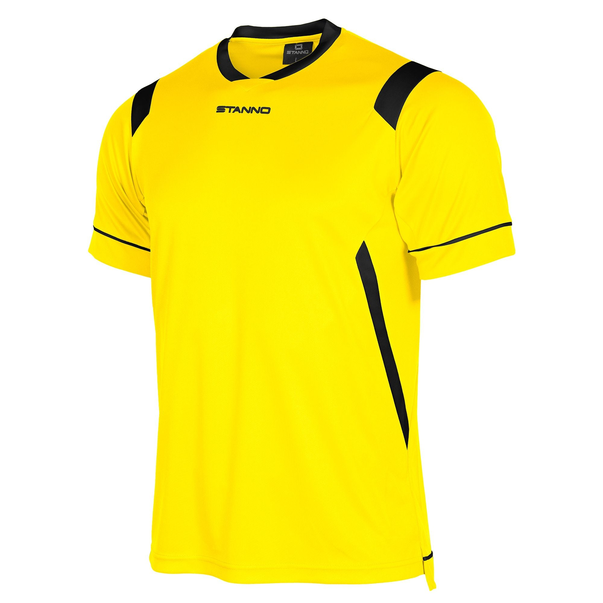 Stanno Arezzo short sleeved shirt in yellow with black contrast collar, and stripe detail on shoulders and sides.