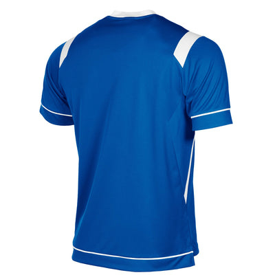 rear of Stanno Arezzo short sleeved shirt in royal blue with white contrast collar, and stripe detail on shoulders and sides.