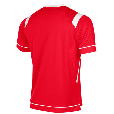 rear of Stanno Arezzo short sleeved shirt in red with white contrast collar, and stripe detail on shoulders and sides.