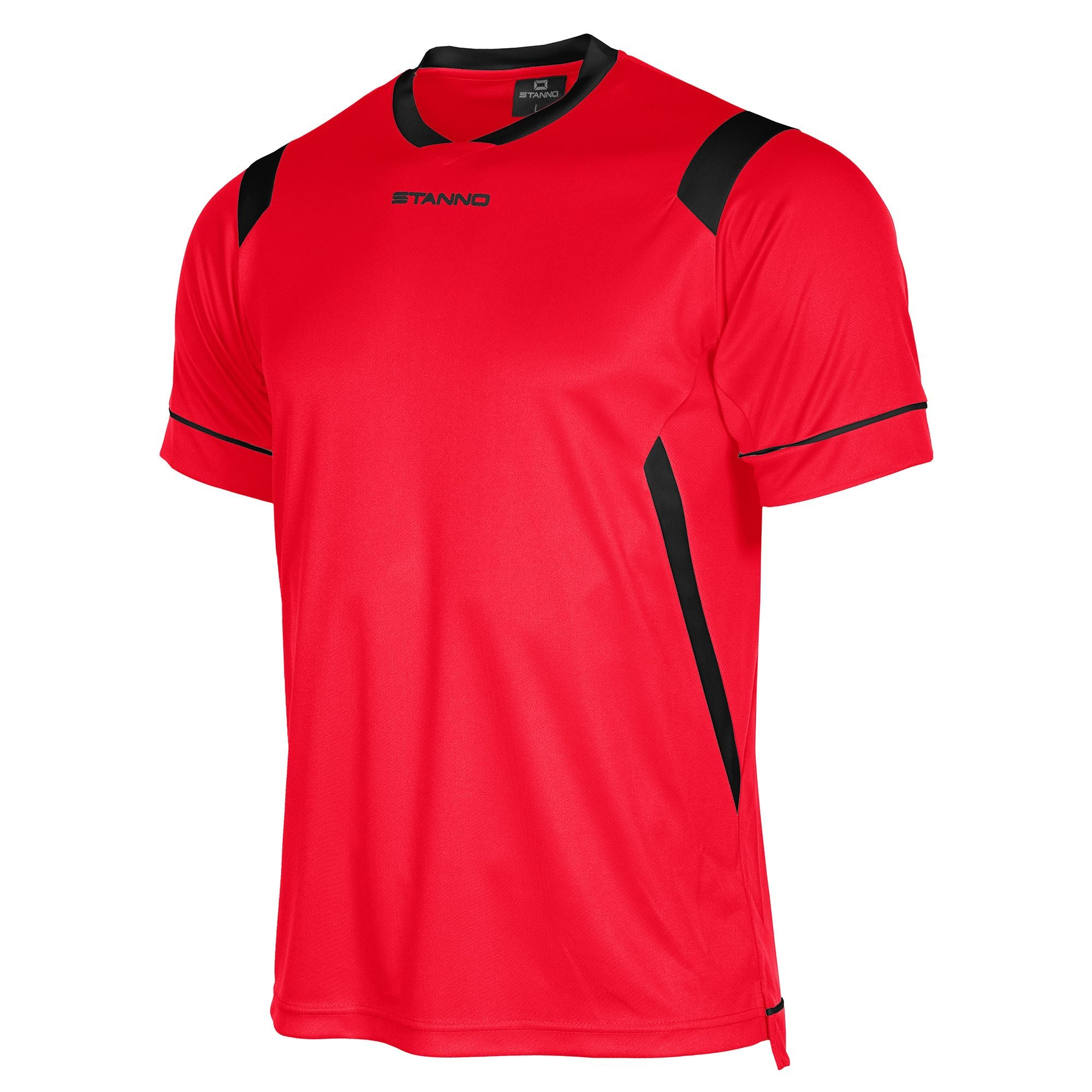 Stanno Arezzo short sleeved shirt in red with black contrast collar, and stripe detail on shoulders and sides.