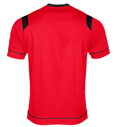 rear of Stanno Arezzo short sleeved shirt in red with black contrast collar, and stripe detail on shoulders and sides.