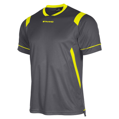 Stanno Arezzo short sleeved shirt in anthracite with neon yellow contrast collar, and stripe detail on shoulders and sides.