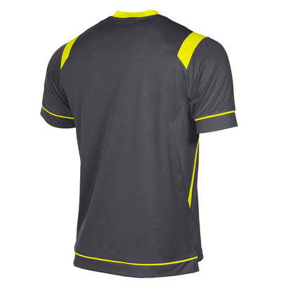 rear of Stanno Arezzo short sleeved shirt in anthracite with neon yellow contrast collar, and stripe detail on shoulders and sides.