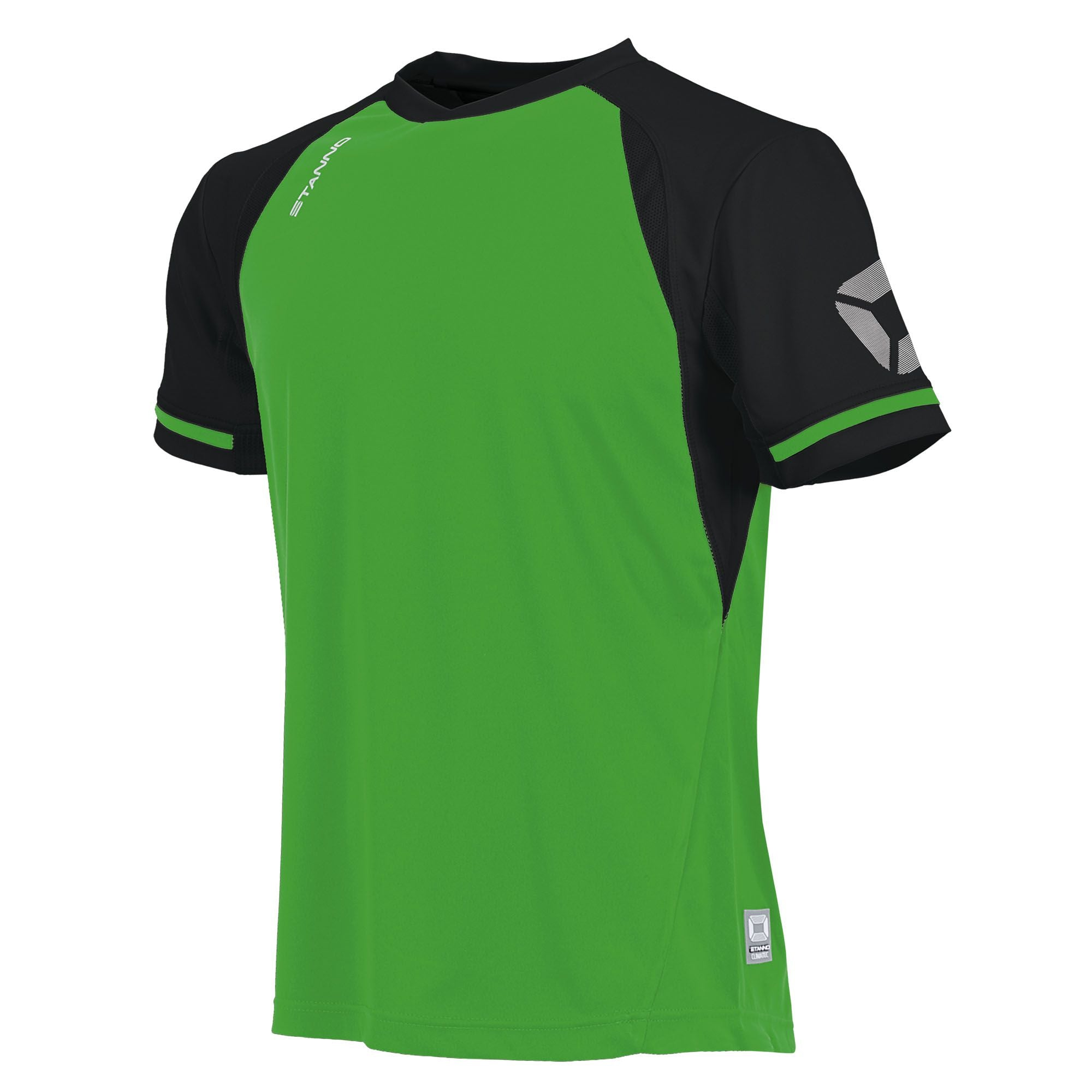short sleeved Stanno Liga shirt in bright green with contrast black sleeves and collar, Stadium logo on the sleeve.