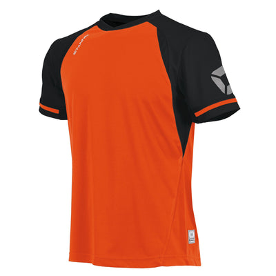 short sleeved Stanno Liga shirt in shocking orange with contrast black sleeves and collar, Stadium logo on the sleeve.