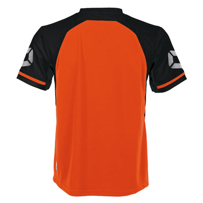 rear of short sleeved Stanno Liga shirt in shocking orange with contrast black sleeves and collar, Stadium logo on the sleeve.